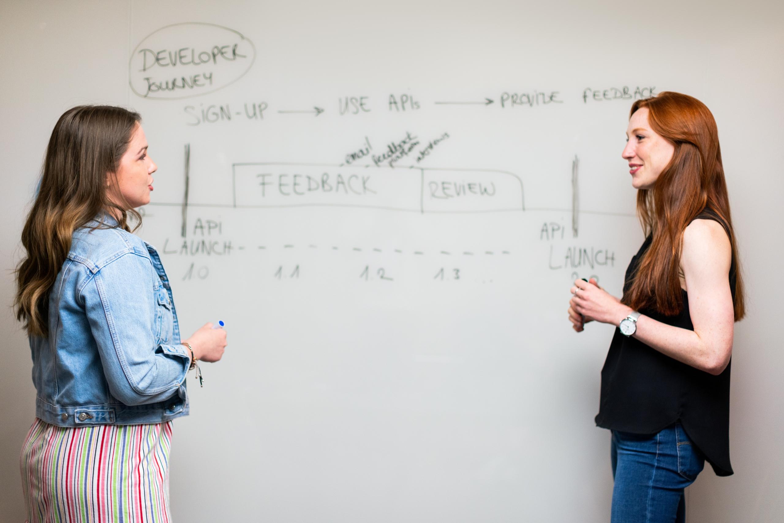 To unge kvinder foran en tavle, der viser typisk præsentation